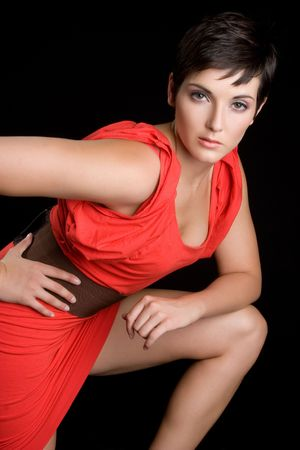 Fashion Model in Red Dress photo