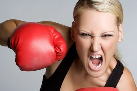 Aggressive Boxing Girl Stock Photo - 5518791