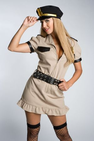 Woman Wearing Cop Costume photo
