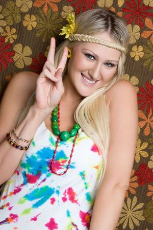 Hippie Girl Giving Peace Sign Stock Photo - 5559747