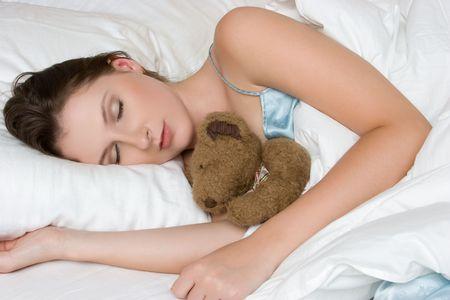 Girl Sleeping With Teddy Bear Stock Photo - 5591223