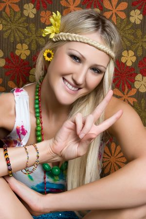 mujer hippie: Peace Sign Chica