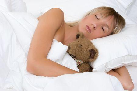 Sleeping Girl Hugging Bear Stock Photo - 5559748