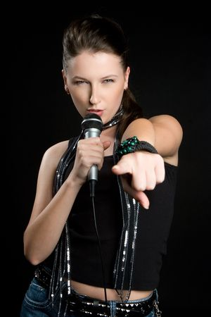 Karaoke Woman Stock Photo - 5591235