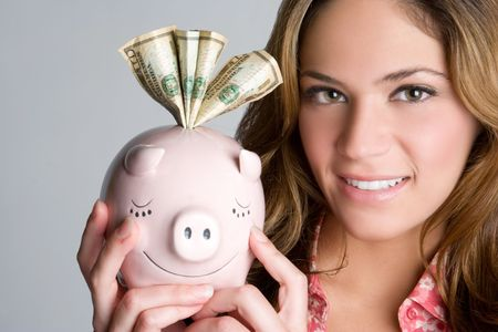 Woman Holding Piggybank Stock Photo - 5591244