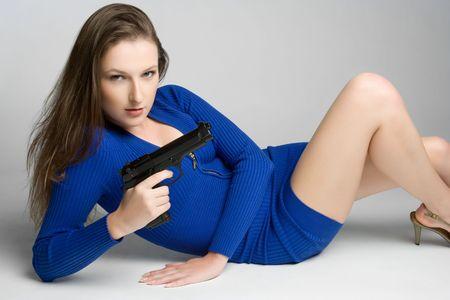 敷設銃女性 写真素材