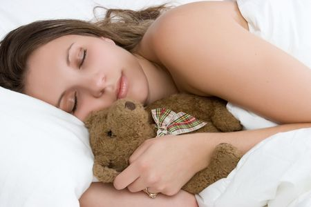 Sleeping Girl Holding Teddy Bear Stock Photo - 5591260