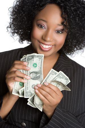 Black Businesswoman Holding Money Stock Photo - 5604159