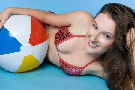 Beach Ball Bikini Girl Stock Photo - 5626342