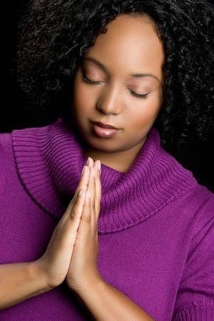 Black Woman Praying Imagens