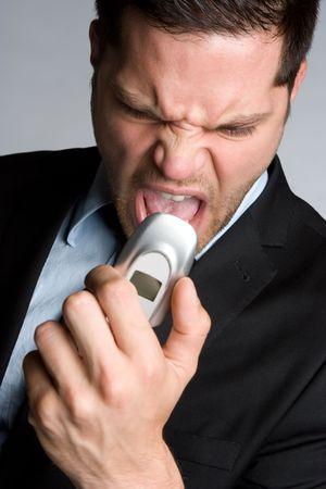 Angry Yelling Phone Man Stock Photo - 5692861
