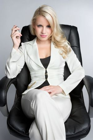 Businesswoman Holding Cell Phone Stock Photo - 5704006