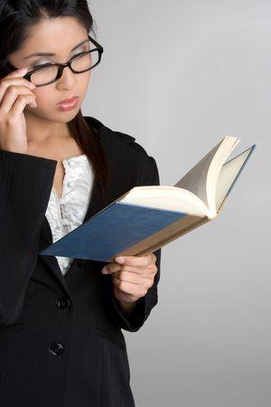 Asian Woman Reading Book photo