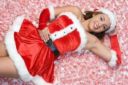 mrs  santa: Girl Laying in Christmas Candy