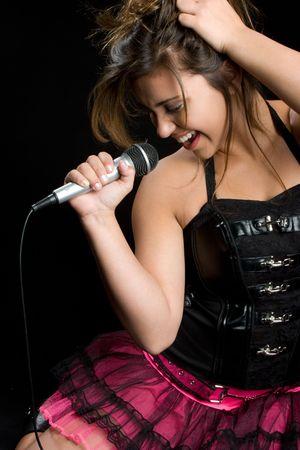 Girl Singing Karaoke Stock Photo - 5760812