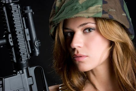 camouflage woman: Army Girl With Gun