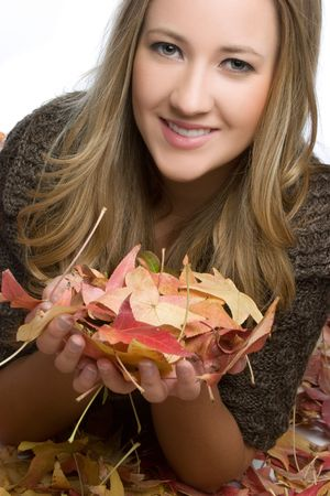 Woman Holding Fall Leaves Stock Photo - 5788538