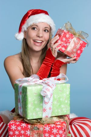 Christmas Girl Opening Gifts Imagens