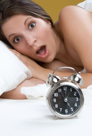 Surprised Alarm Clock Woman Stock Photo - 5834934