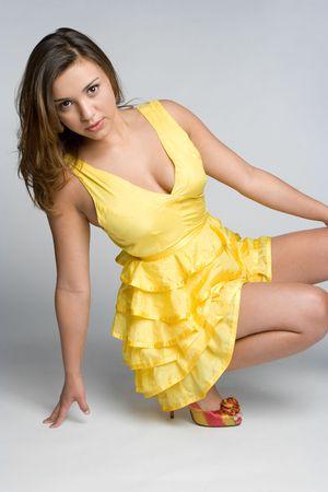 Girl Wearing Yellow Dress 写真素材