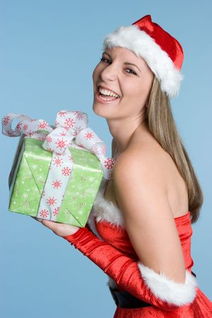 Woman Holding Christmas Gift Stock Photo - 5844895