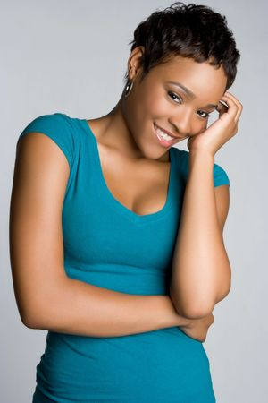 shy girl: Beautiful African American Woman