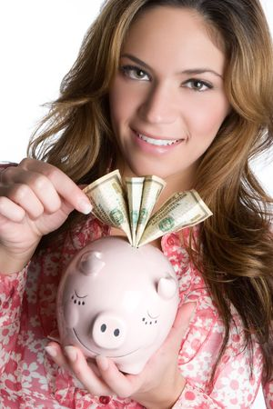 Businesswoman With Piggy Bank Stock Photo - 5888741