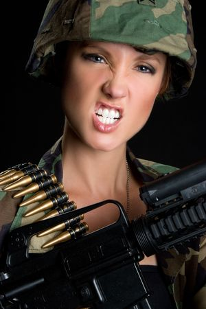 Angry Army Woman
