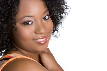 beautiful girl face: Smiling African American Woman