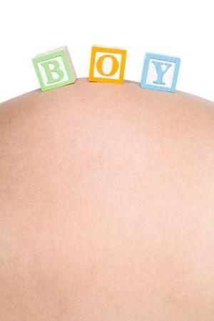 Baby Boy Blocks on Belly Stock Photo - 5997434