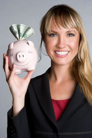 Woman Holding Piggybank Stock Photo - 5997443