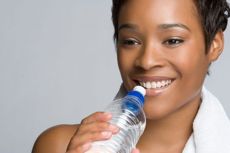 Healthy Woman Drinking Water Stock Photo