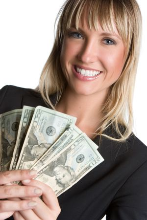 Businesswoman Holding Cash Stock Photo