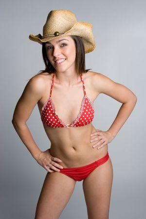 Smiling Bikini Cowgirl photo