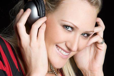Headphones Girl Listening to Music Stock Photo - 6031796
