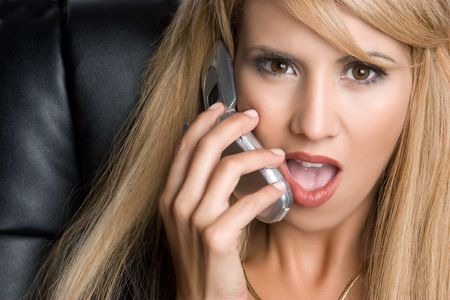 Shocked Businesswoman on Phone Stock Photo - 6031919