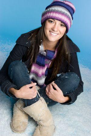 Winter Girl in Snow Stock Photo - 6031802