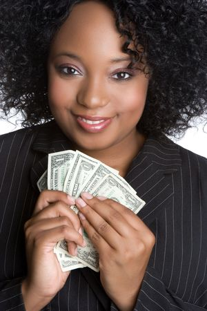 american currency: African American Woman Holding Money