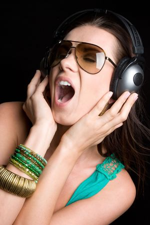 Singing Woman Wearing Headphones Stock Photo - 6059259