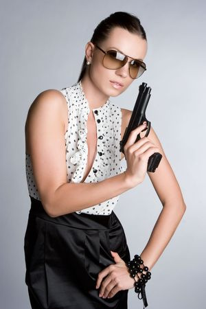 Sexy Woman Holding Weapon Stock Photo - 6095009
