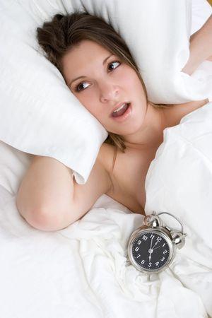 Alarm Clock Bed Woman Stock Photo - 6141503
