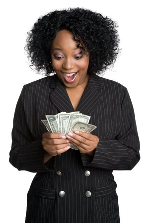 Berrascht Money Woman Standard-Bild - 6171405