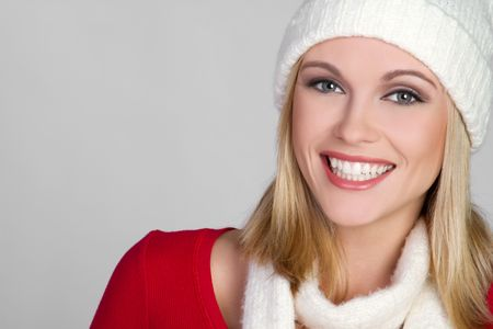 red scarf: Happy Winter Woman