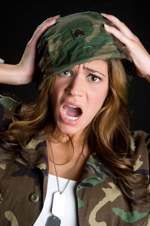 Shocked Military Woman Stock fotó