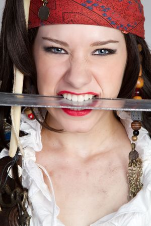 clenching teeth: Beautiful Pirate