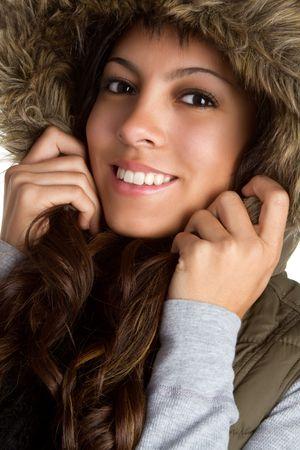 Fur Coat Girl Smiling photo
