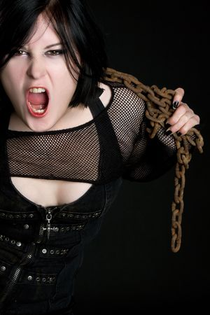 Yelling Woman With Chains Stock Photo - 6307097