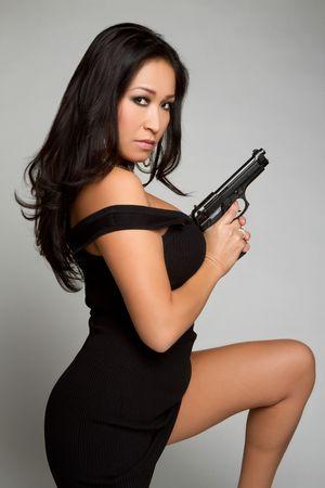 Asian Gun Woman Stock Photo - 6307107