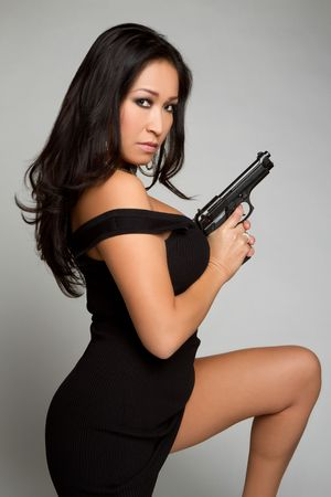 Asian Gun Woman Stock Photo - 6307107