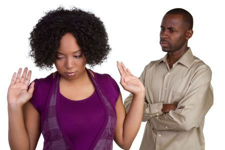 couple arguing: Angry African American Couple LANG_EVOIMAGES
